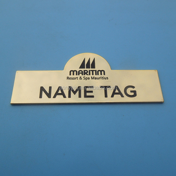 Gold Plate For Hotel Staff Name Tag