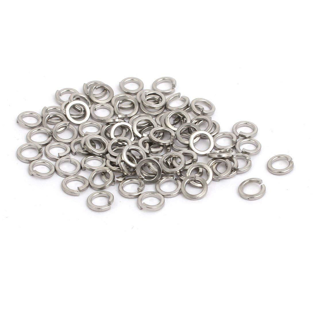 uxcell M3 Inner Diameter 304 Stainless Steel Split Lock Spring Washer Gasket 80pcs