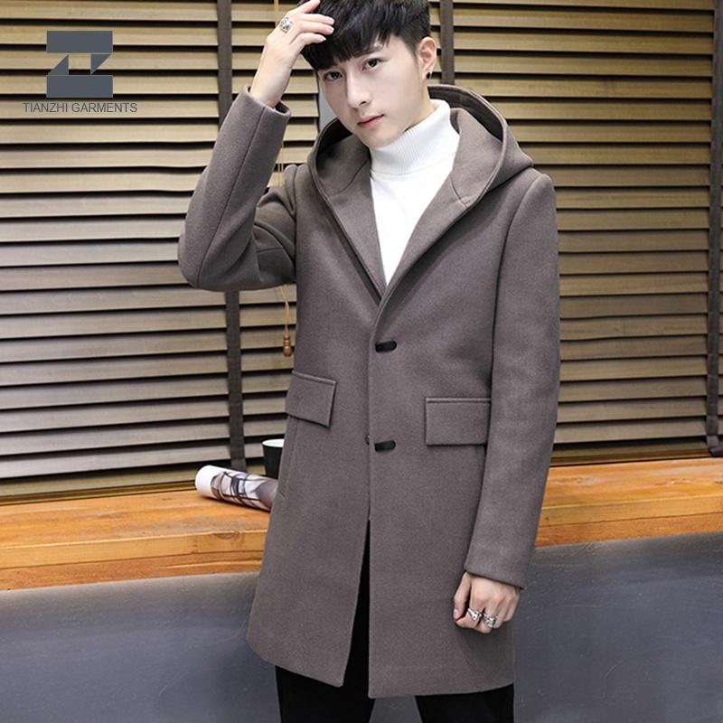 Fashion Adult Men Long Sleeve Woolen Coat