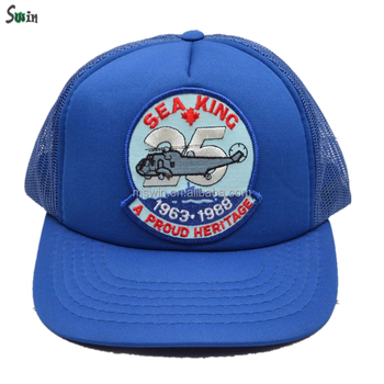 Bule color 100% polyester flat brim embroidery patch trucker snapback cap  for small heads 5b20f964893