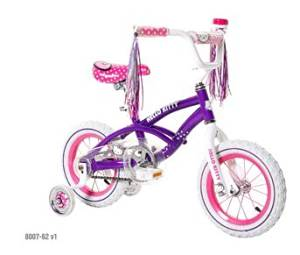 Hello Kitty Girls' Bike 12 inch with training wheels, bell and streamers. Pink & Purple Girls Bike ON SALE !! A girls bike which helps balance and coordination. Great Kids Bike.