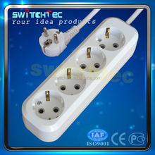 CE GS German type 6 way schuko extension sockets,6 outlet power strip, triple plug socket with wire