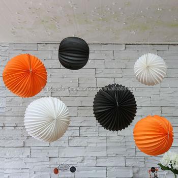 15 20cm 30cm White Orange Black Halloween Paper Balloon Accordion