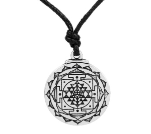 Sri Yantra for Growth and Healing Amulet Wealth Goddess Talisman Tantric Hindi Men With Leather Cord Yoga Pendant Necklace