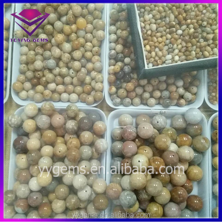 Wholesale Polished Cabochon Face Natural Coral Jade Beads Stone
