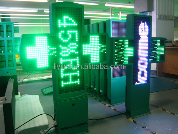 LIYI programmable curved pharmacy cross led 2D/3D wholesale