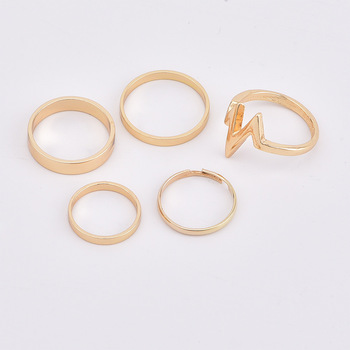 5 Pcs/Set Fashion Wave Lightning Ring Set Finger Rings For Women Gifts for Charms Party Ring Jewelry