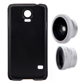 3-in-1 Fisheye Wide Angle Lens Phone Photo Lens Mobile Phone Lens Macro Set with Case for Samsung Galaxy S5 Cellphone