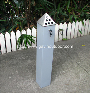 Mild steel and stainless steel pyramid ashtray bin metal standing ashtray