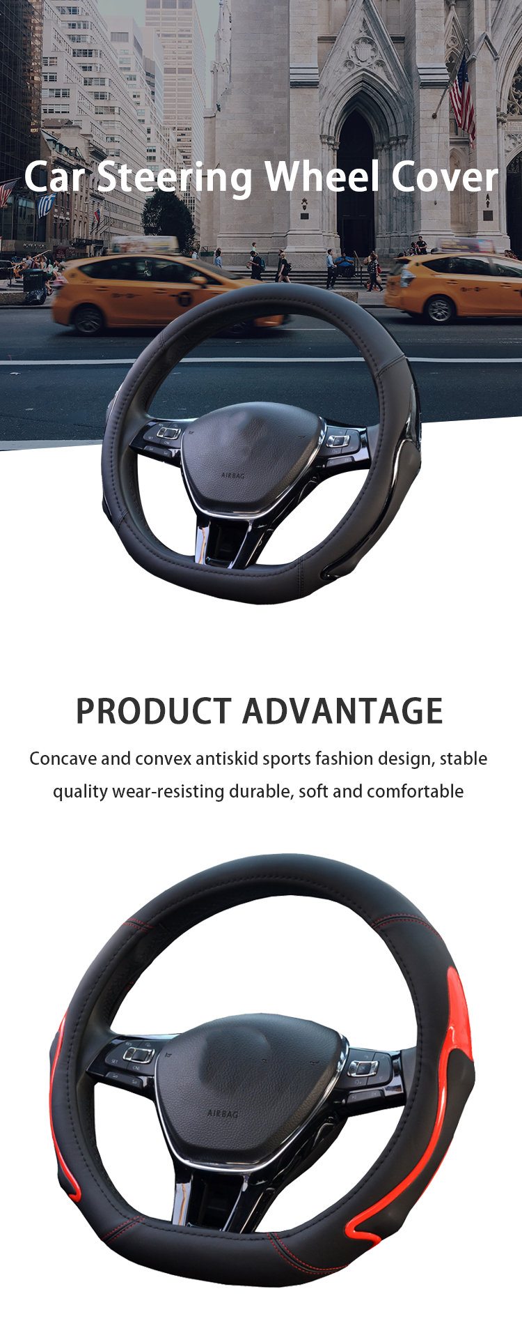 FX-P-087 D Shape Flat Bottom leather Odorless Bump Anti Slip women Car Steering Wheel Cover