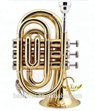 strumento musicale roffee brasswind lacca oro bb chiave ottone <span class=keywords><strong>mini</strong></span> tasca <span class=keywords><strong>tromba</strong></span>