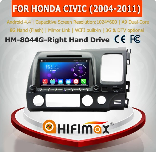 Hifimax android 5.1.1 android car dvd for honda civic right hand drive car dvd car multimedia system for honda civic