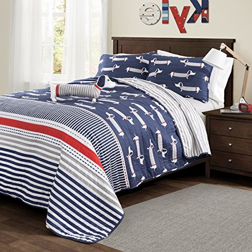 3 Piece Boys Blue Red Grey Sausage Dogs Theme Quilt Twin Set, Fun Stylish Kids Multi Puppy Horizontal Stripe Bedding, Cute Happy All Over Wiener Dog Puppies Animal Themed Pattern, Gray White Navy