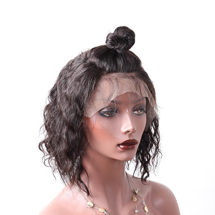 Vendita calda di Trasporto libero onda naturale 130% densità caschetto corto 100 del virgin del brasiliano parrucca naturale piena del merletto dei capelli umani naturali parrucche