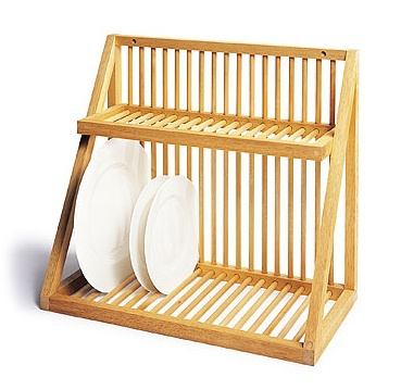 Hot Selling Bamboo Plate Storage Rack Kitchen Dish Drying