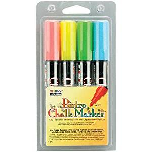 4/pkg, Opaque, Water-Based, Non-Toxic, Pigmented and Resistan Chalk Marker Set with 6 mm Tips, Blue/Red/Green/Yellow