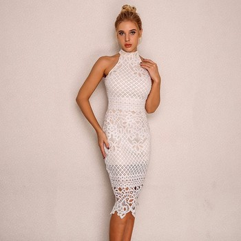 feb55da0ee8f8 2019 Latest Halter Neck Backless Bodycon Dress Hollow Out Sleeveless Lace  Floral Pattern Sexy Women Dress - Buy Girls Lace Dress,Lace Dress ...