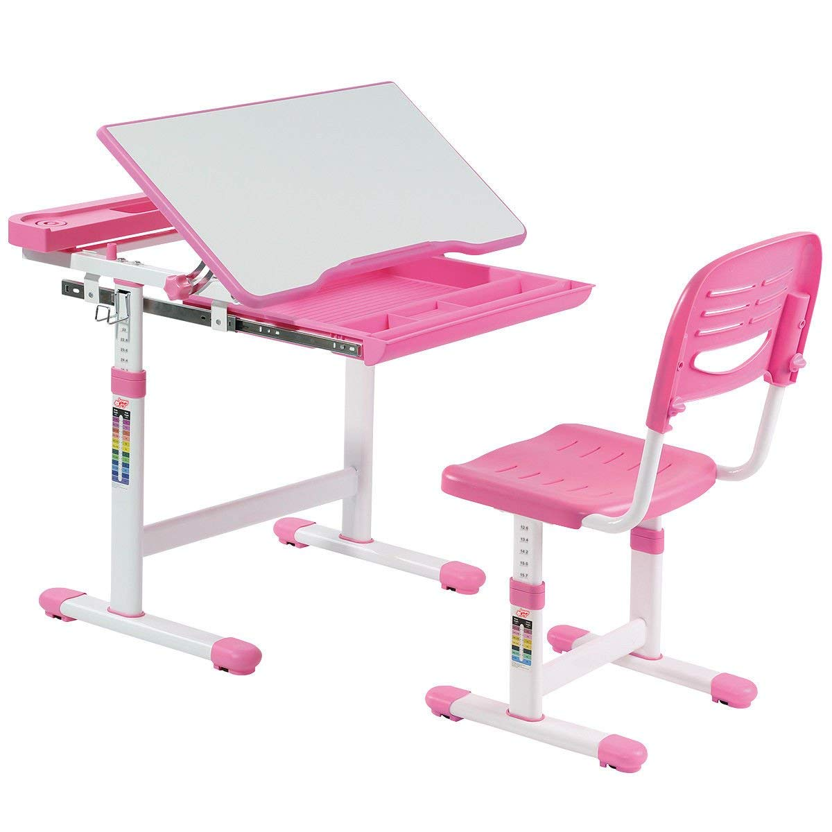 AyaMastro Pink Children Desk Set Kids Multifunctional Drawing Table w/Adjustable Height & Chair