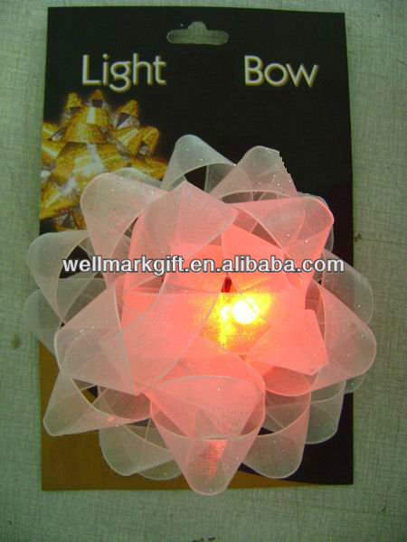 White Organza Woven Mesh Ribbon LED Light up Bow Tie