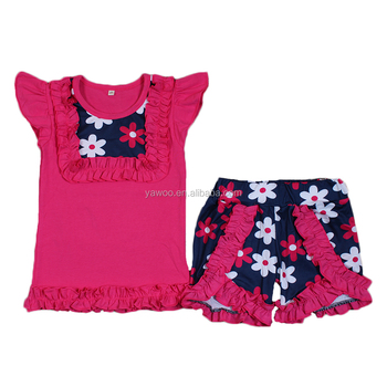 6d2321073 Kids Girls Summer Rose Res Floral Boutique Clothes Set 2pcs Children Ruffle  Outfits Wholesale Cheap Online Clothing Set For Girl - Buy Cool Kids ...