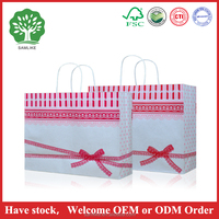 Colorful lace bow gift paper bags with paper handle and Reclosable brown kraft paper bag/brown paper bag/craft paper bag