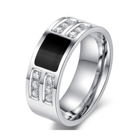 Men's jewelry wedding rings high quality stainless steel plated with zircon stone