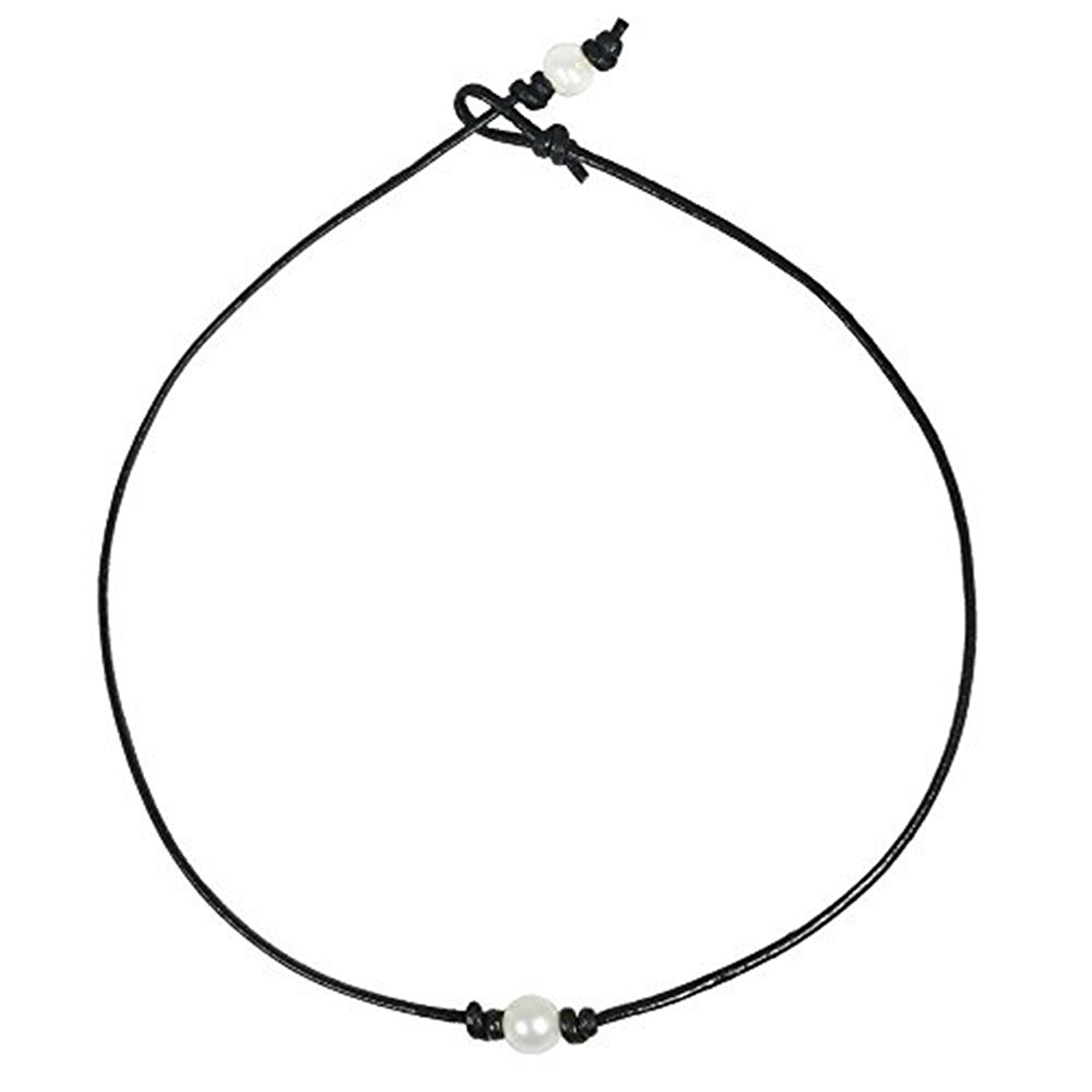 Cultured Freshwater White Pearl Choker Leather Necklace Floating Single Pearl Collar Handmade Jewelry