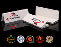 Custom your brand unbleached organic smoking rolling paper with natural gum 1 1/4 size