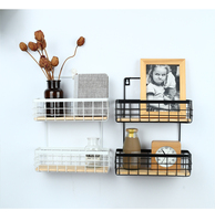 EasyPAG Factory Direct Sale Metal 2 Tier Wall Storage Rack 2 Basket Floating Wall Shelf