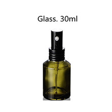 30ml Tea Green Color Glass Bottle Cosmetic with Black Sprayer
