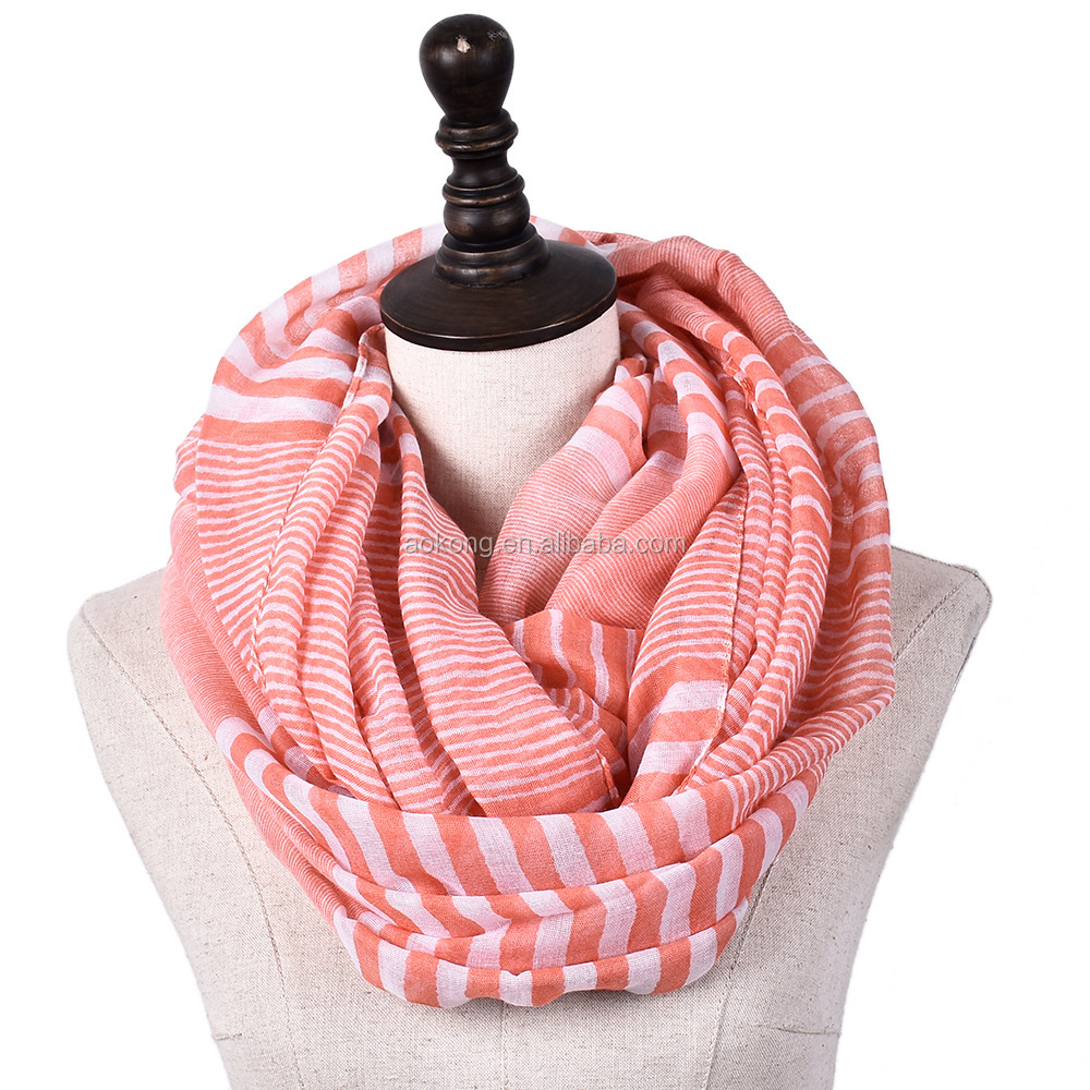 2018 spring ladies striped soft snood infinity scarf