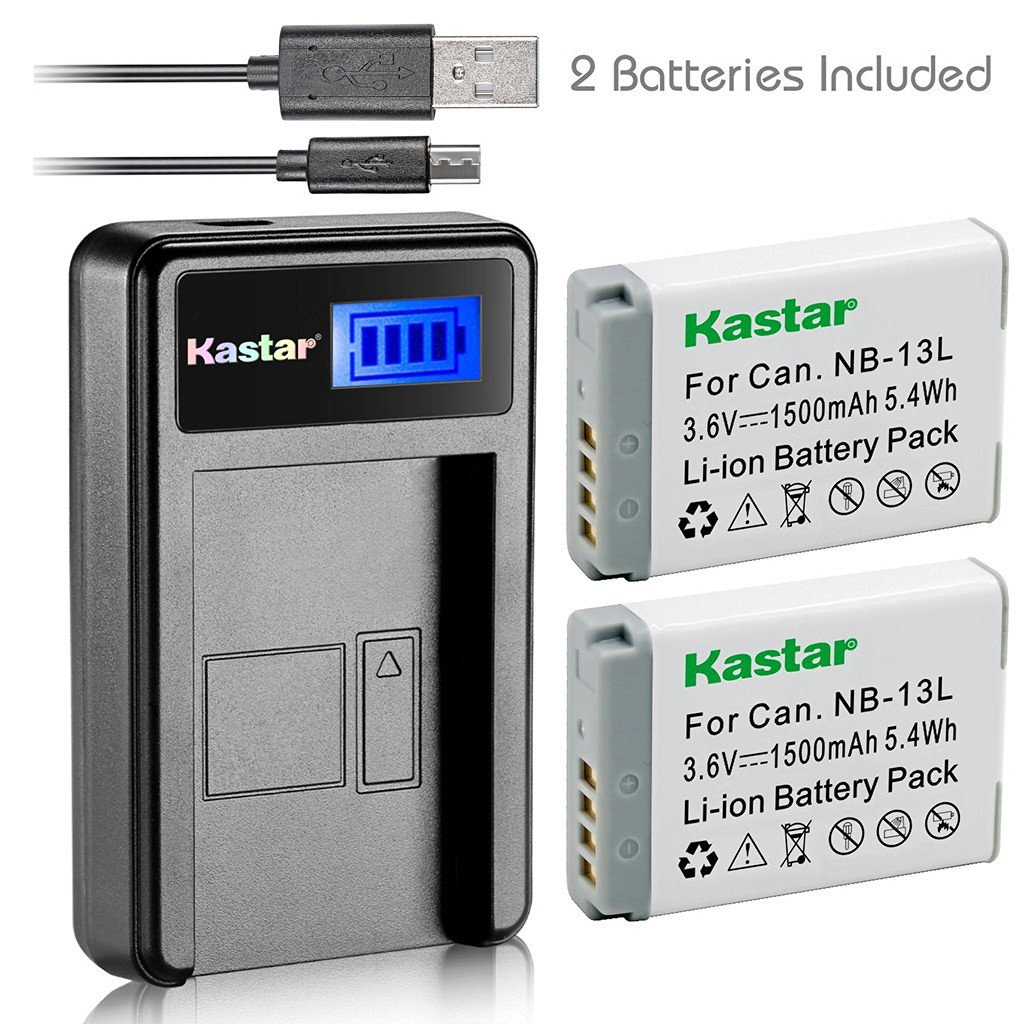 Kastar Battery (X2) & LCD Slim USB Charger for Canon NB-13L, NB13L and Canon PowerShot G5 X, Canon PowerShot G7 X, Canon PowerShot G9 X Digital Camera