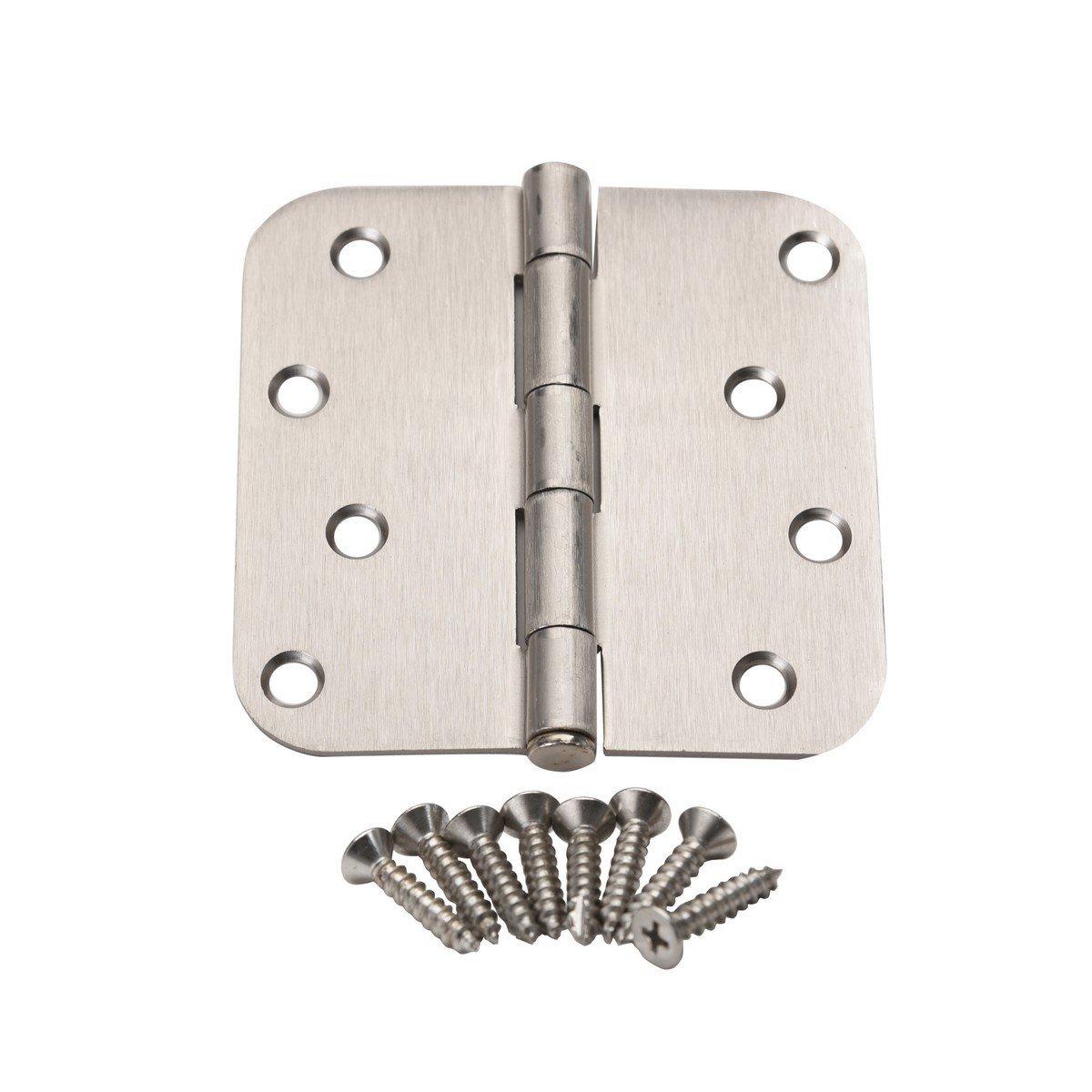"""East West Consolidated 61974 4"""" 5/8"""" Radius Corner SN Satin Nickel Steel Door Hinge"""