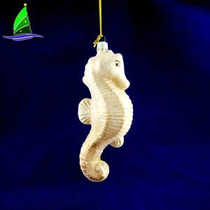 Hippocampe Shape Gold Dust Handmade Glass Pendant Ornament