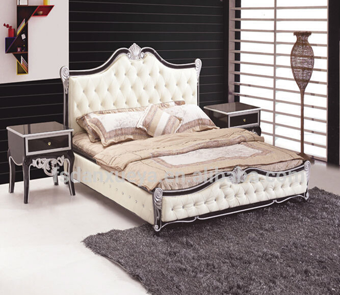 European Style Solid Wood High Back Bed From Bed Supplier
