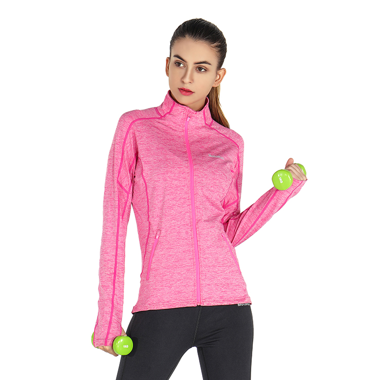Cationic Blue Pink Purple Running Jacket Polyester High Quality Sports Jogging Yoga Training Sweatshirts with Logo