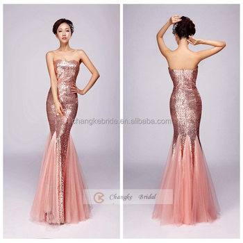 Mermaid Embellished Evening Dress Strapless Fish Tail Sequins Full