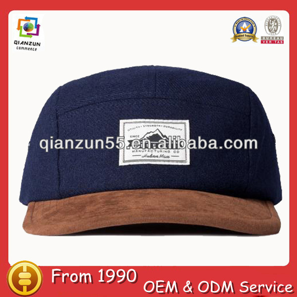 New Fashion Only Custom Navy Cotton Curve Brim 5 Panel Cap