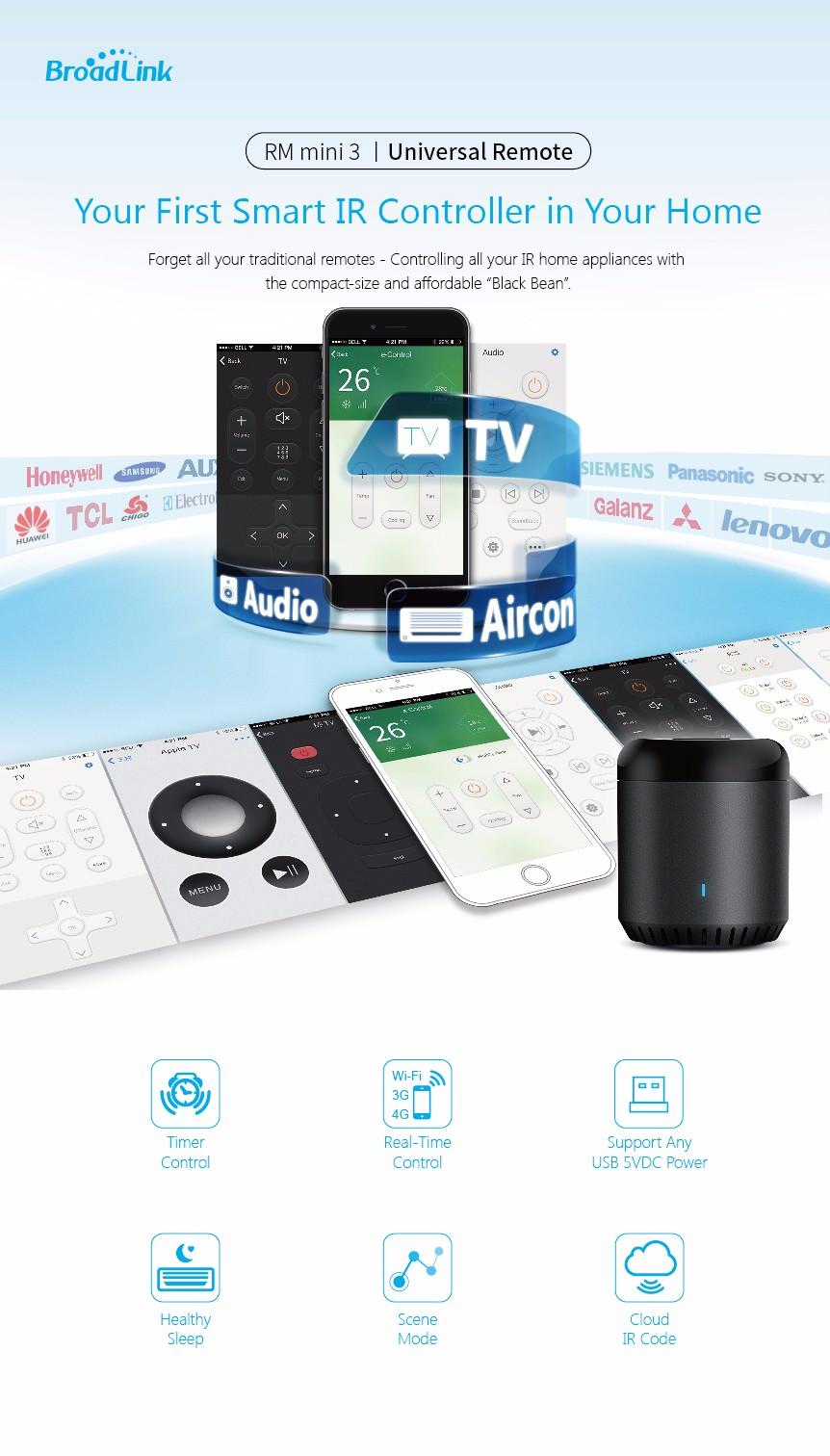 broadlink rm mini 3 black bean smart home automation universal wifi switch remote wifi ir. Black Bedroom Furniture Sets. Home Design Ideas