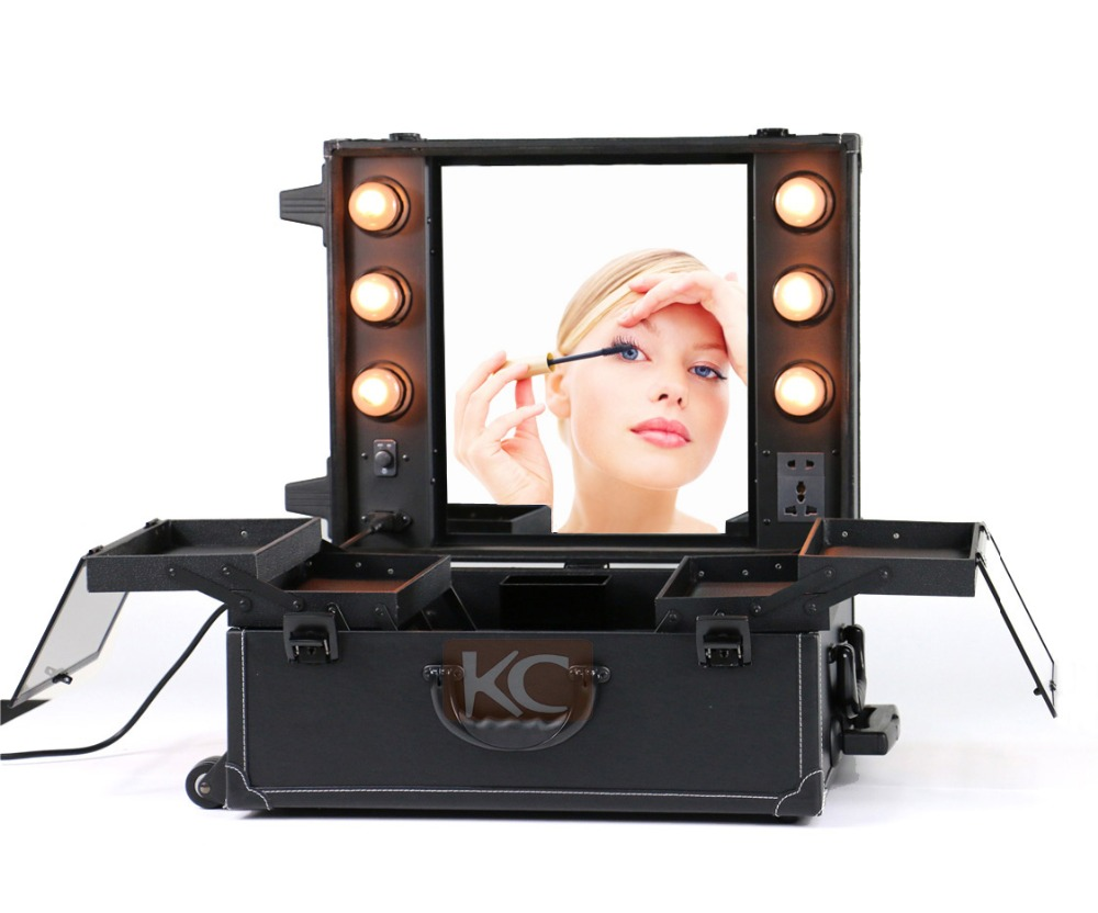 MOQ 1pc, Fast delivery Large Professional PVC Leather mobile makeup table desk makeup station with lights with mirror