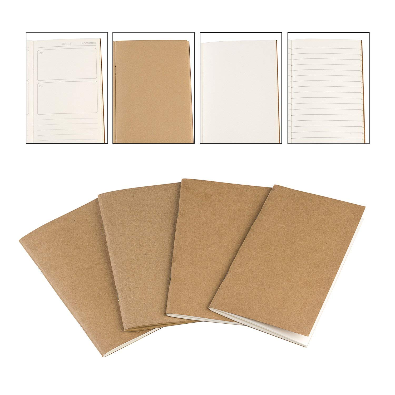 Travelers Notebooks, 4Pcs Notepads - Bullet Journal Notebooks, Refill for Travelers Notebook 3.7x6.5In
