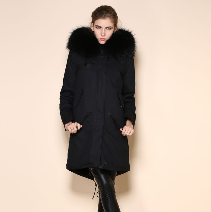 Long Parka Black Parka Men Plain Dyed With Raccoon Dog Furs Trim ...