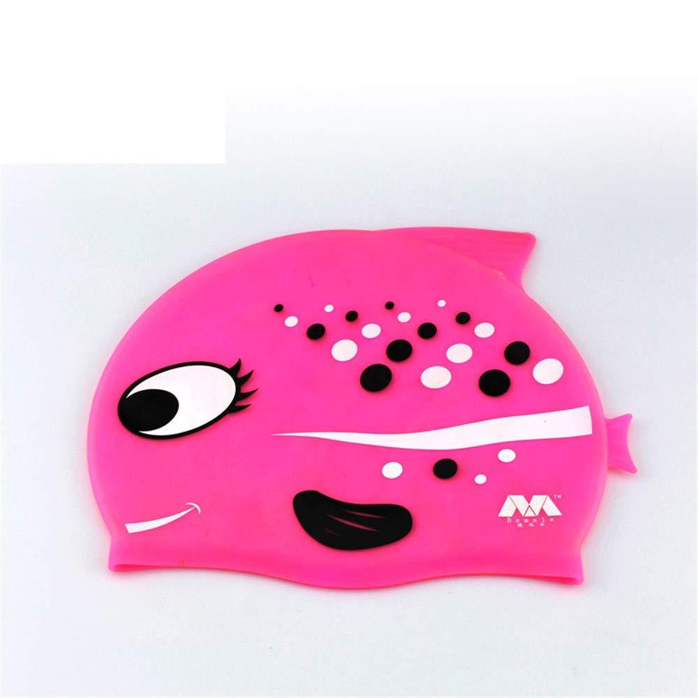 Jshuang Children's Comfortable Waterproof Swim Cap|Kids Swimming Hat |Silicone Childrens Toddlers Swim Cap|Junior Boys Girls Beach Swimming Cap|Silicone Spa Hat (Pink)