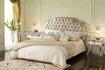 Europese luxe stijl moderne slaapkamer sets bed bijzettafel