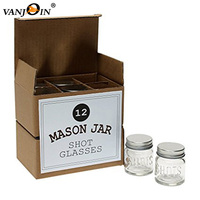 Custom Packaging 2oz Mini Vodka Whisky Mason Jar Mug Shots Glass With Lids For Drunk Hipsters