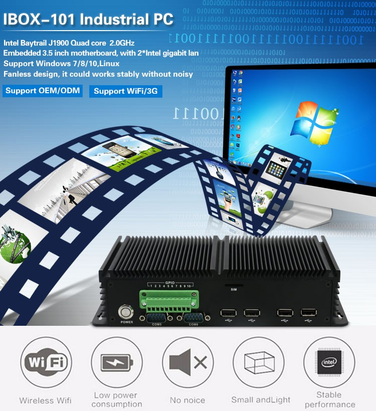 Baytrail Quad Core Ibox-101 Fanless Industrial Computer With 3.5 ...