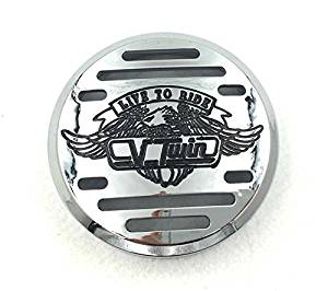 Chrome Horn Cover with Black Logo For 1998-2013 Yamaha V-Star 650 / Classic / Custom 1999-2009 Yamaha V-Star 1100 / Classic / Custom / Silverado 1995-2006 Kawasaki Vulcan 801