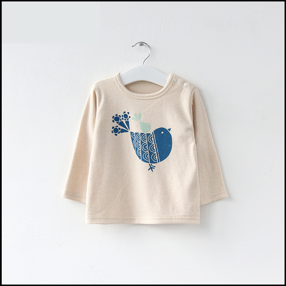 Eco-Friendly organic cotton offset print baby long sleeve t shirt