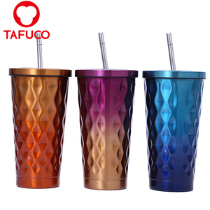 18oz Stainless Steel Double Wall Tumbler Cup With Straw