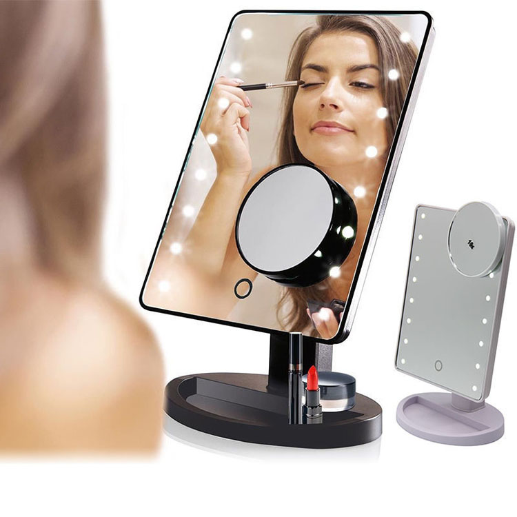Make-up Spiegel met Verlichting 10X Vergroting 16 Lichten Touch Screen Aanrecht Led Make Up Spiegel